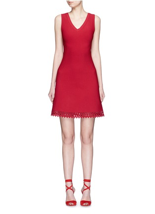 Main View - Click To Enlarge - Alaïa - 'Vienne' perforated sleeveless flare knit dress