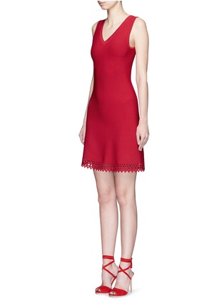 Figure View - Click To Enlarge - Alaïa - 'Vienne' perforated sleeveless flare knit dress