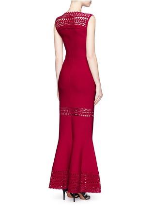 Back View - Click To Enlarge - Alaïa - 'Vienne' peplum hem geometric cutout knit dress