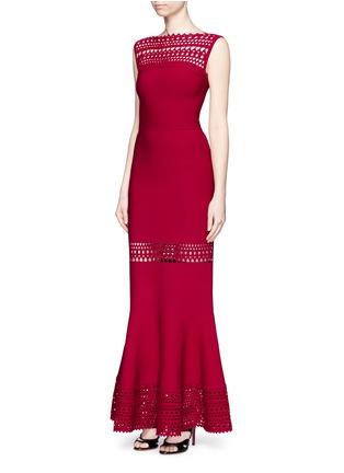 Figure View - Click To Enlarge - Alaïa - 'Vienne' peplum hem geometric cutout knit dress
