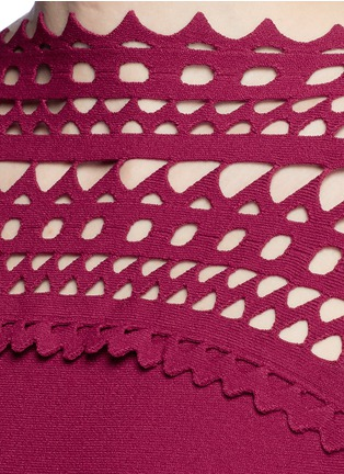Detail View - Click To Enlarge - Alaïa - 'Vienne Large' perforated flare knit dress
