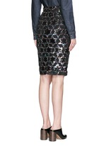 Sequin star cutout silk pencil skirt
