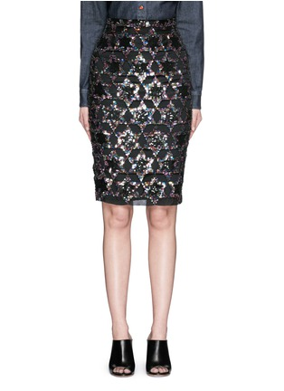 Givenchy - Sequin star cutout silk pencil skirt
