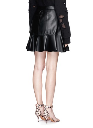 Back View - Click To Enlarge - Givenchy Beauty - Suede button lambskin leather flare skirt