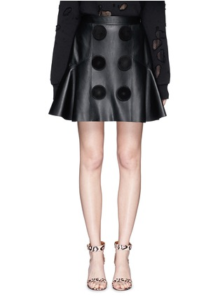 Main View - Click To Enlarge - Givenchy Beauty - Suede button lambskin leather flare skirt
