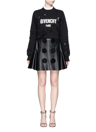 Figure View - Click To Enlarge - Givenchy Beauty - Suede button lambskin leather flare skirt