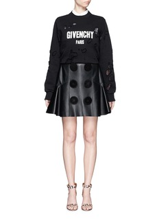 GIVENCHYSuede button lambskin leather flare skirt