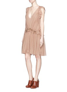 CHLOÉ Metal charm silk crépon ruffle drawstring dress