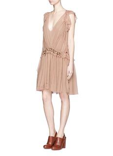 CHLOÉMetal charm silk crépon ruffle drawstring dress