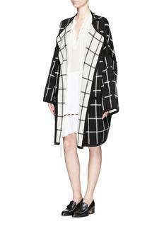 CHLOÉReversible windowpane check knit overcoat
