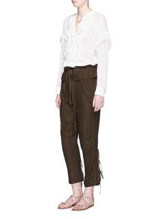 CHLOÉGrid cloqué flap paperbag waist pants