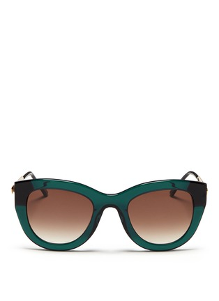 Main View - Click To Enlarge - Thierry Lasry - 'Cupidity' metal temple contrast corner acetate sunglasses