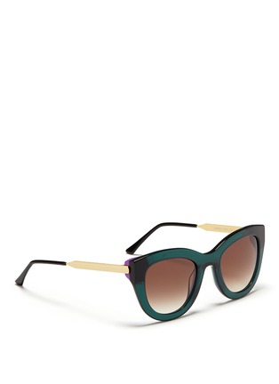 Figure View - Click To Enlarge - Thierry Lasry - 'Cupidity' metal temple contrast corner acetate sunglasses