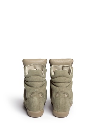 Back View - Click To Enlarge - Isabel Marant Étoile - 'Bekett' suede high top wedge sneakers