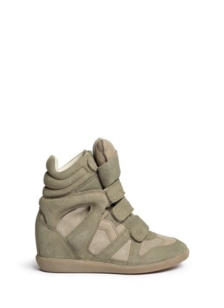 Main View - Click To Enlarge - Isabel Marant Étoile - 'Bekett' suede high top wedge sneakers