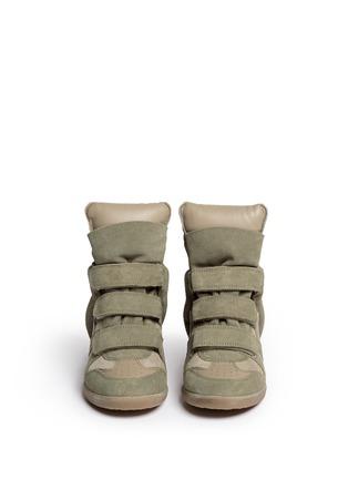 Figure View - Click To Enlarge - Isabel Marant Étoile - 'Bekett' suede high top wedge sneakers