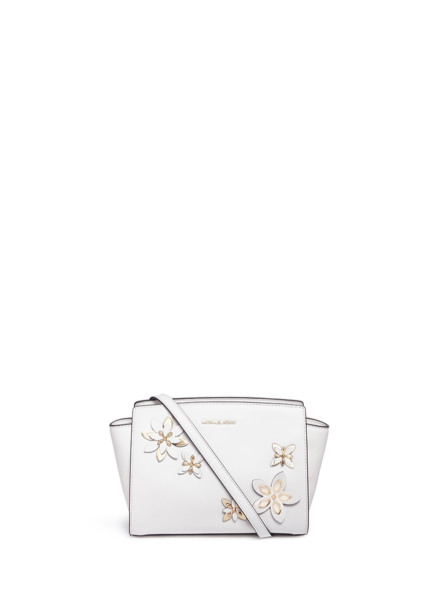 michael kors female selma medium floral embellished messenger bag