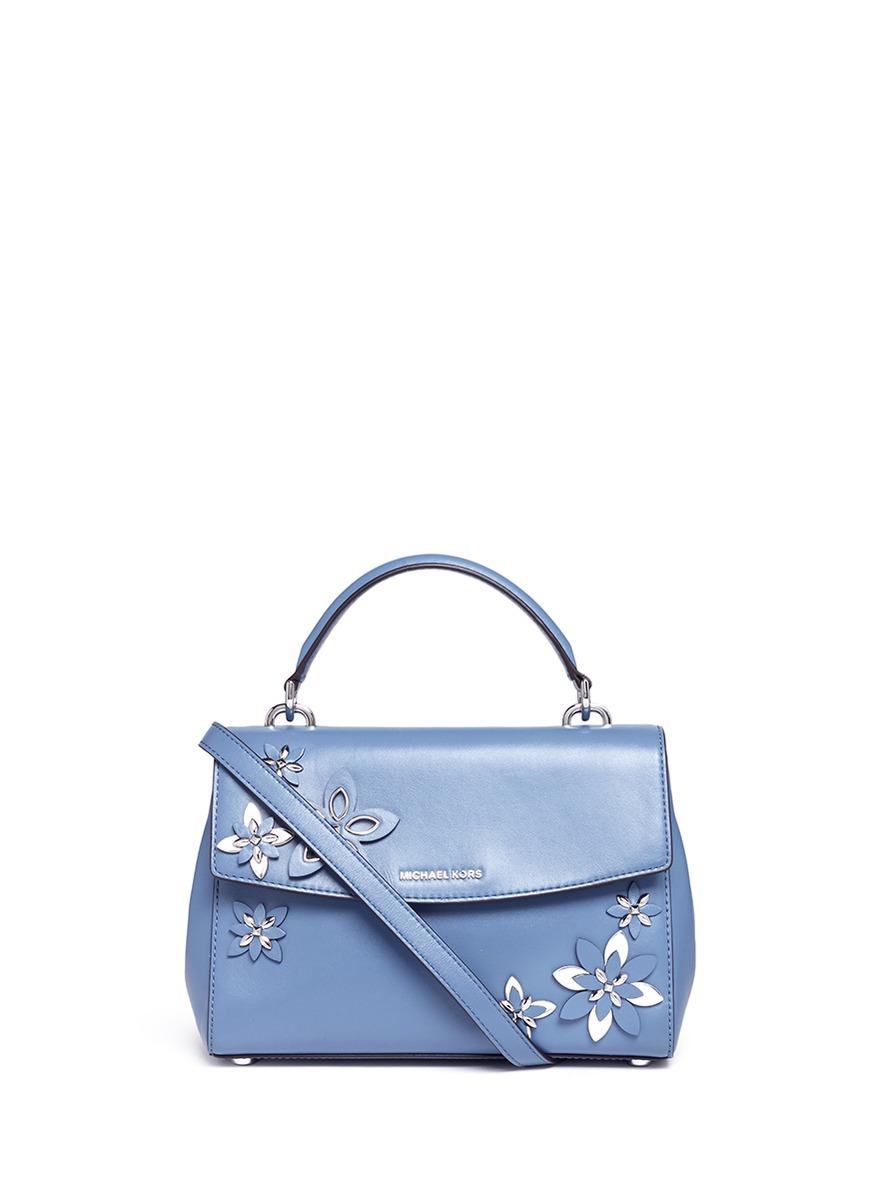 michael kors female ava small floral embellished leather satchel