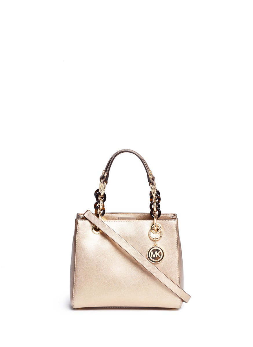 michael kors female cynthia north south small leather satchel