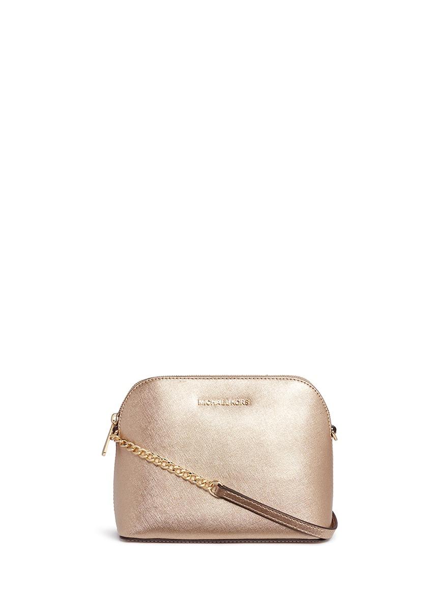 michael kors female cindy large dome saffiano leather crossbody bag