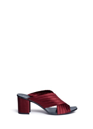 Main View - Click To Enlarge - Pedro García - 'Xail' cross vamp silk satin mules