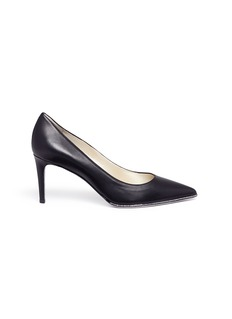 René Caovilla Strass pavé lambskin leather pumps