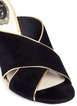 Detail View - Click To Enlarge - René Caovilla - Faux pearl and strass embellished heel suede mules