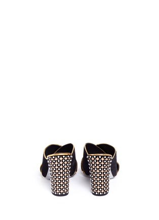 Back View - Click To Enlarge - René Caovilla - Faux pearl and strass embellished heel suede mules
