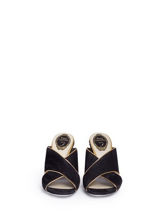 Front View - Click To Enlarge - René Caovilla - Faux pearl and strass embellished heel suede mules