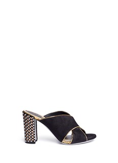 René Caovilla Faux pearl and strass embellished heel suede mules