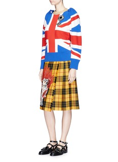 Gucci King Charles Spaniel patchwork tartan check wrap skirt