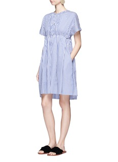 VICTORIA, VICTORIA BECKHAM Stripe gathered empire waist dress