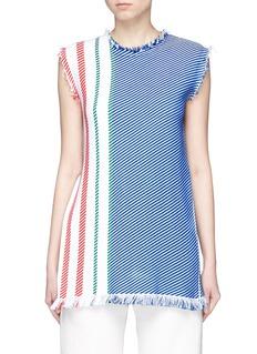 Ports 1961Contrast stripe fringe hem sleeveless knit top