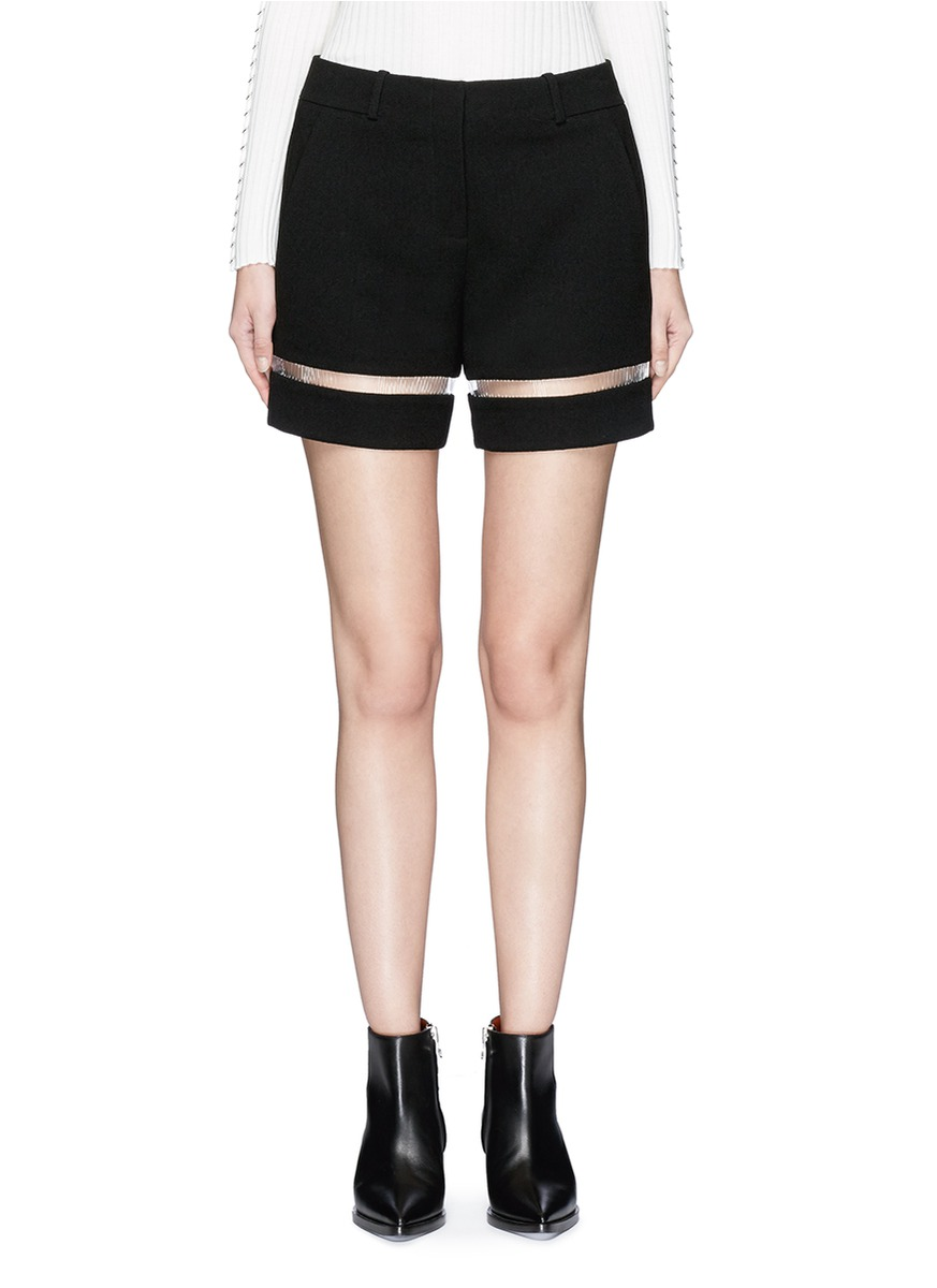 Fish line suspended crepe shorts by Alexander Wang