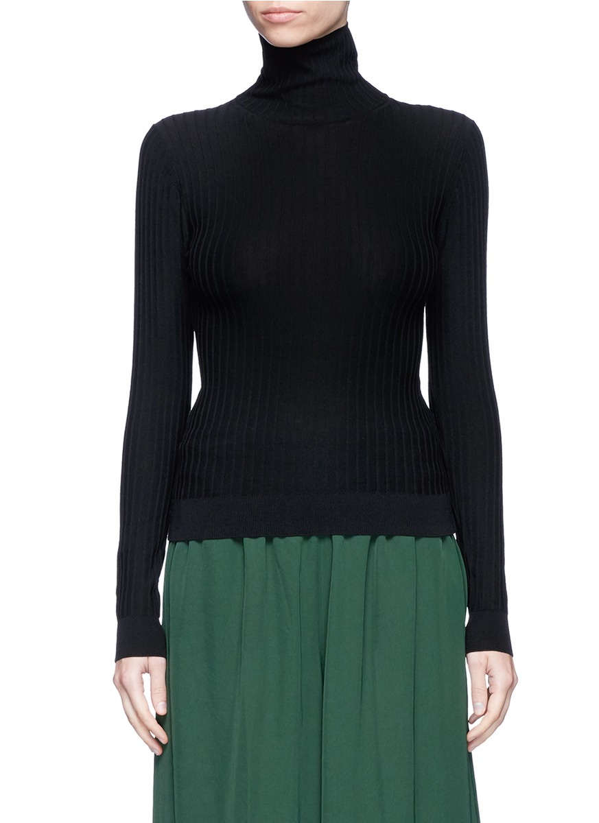 Ida cotton blend rib knit turtleneck sweater by Acne Studios
