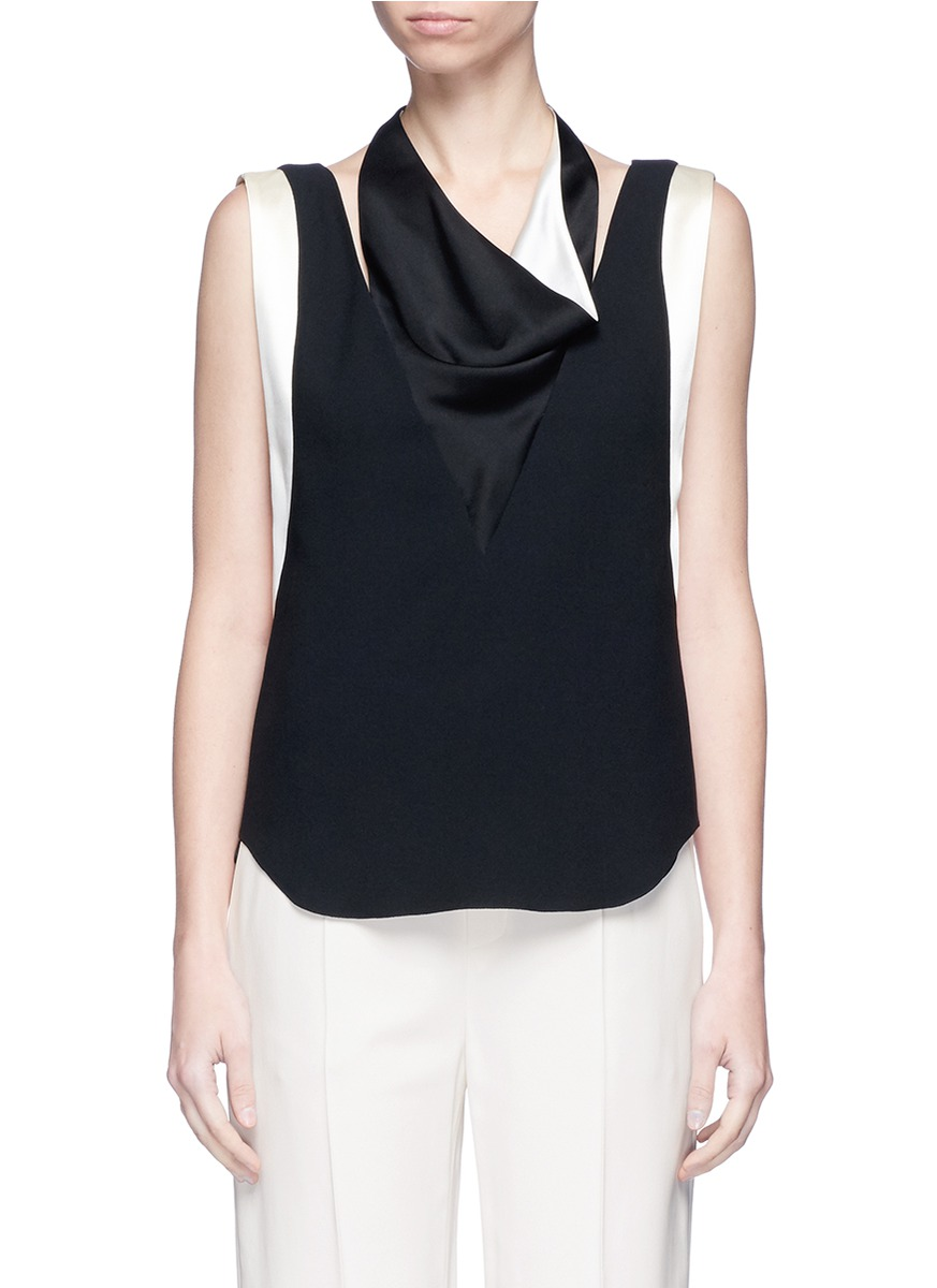 Satin drape neck sleeveless crepe top by Lanvin