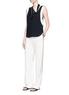 LanvinSatin drape neck sleeveless crepe top
