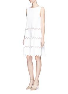 Alaïa 'Zigzag Filet' net knit babydoll dress