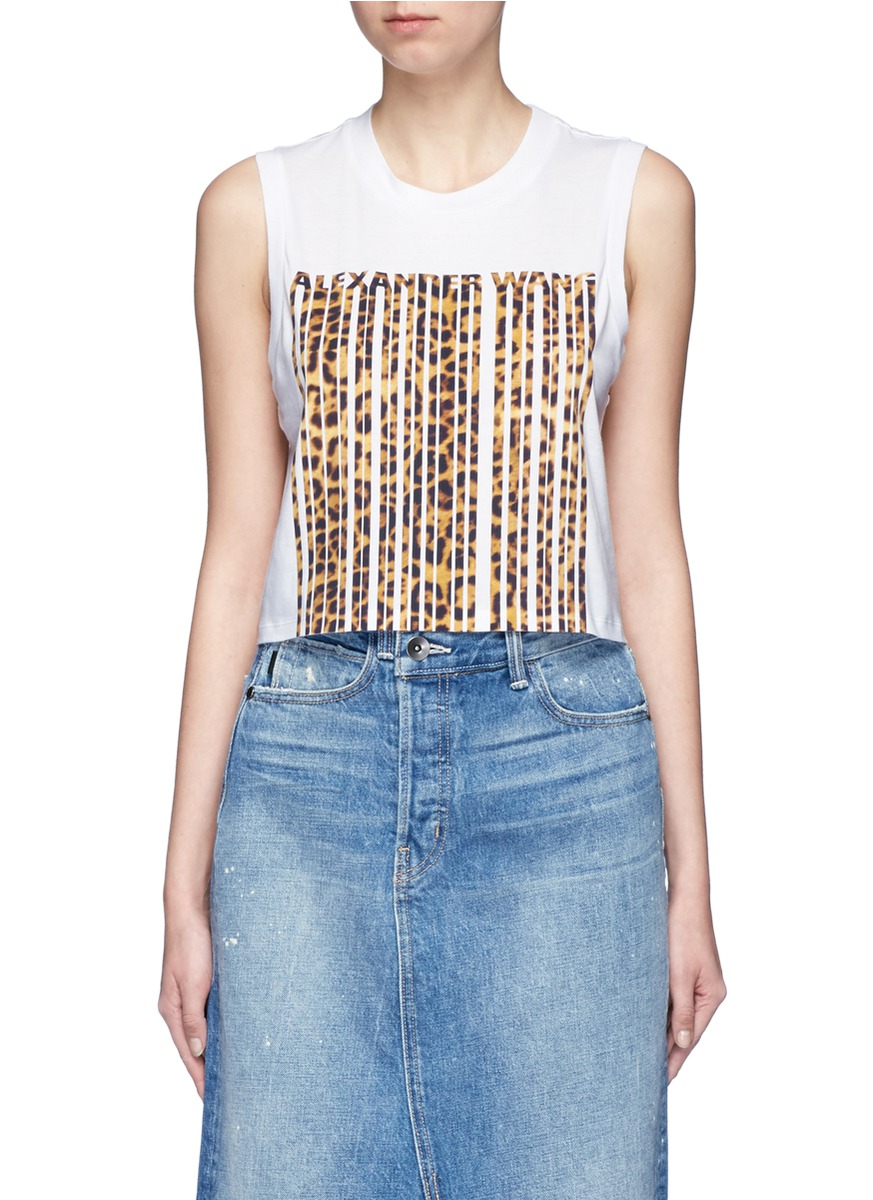 Leopard barcode print cropped tank top by Alexander Wang
