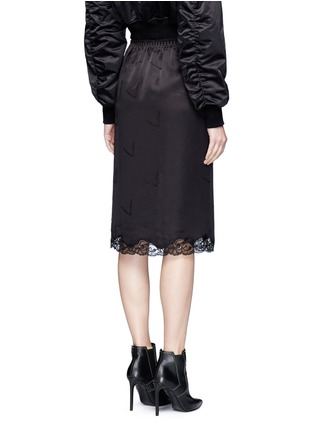 Back View - Click To Enlarge - Alexander Wang  - Lace trim cigarette jacquard silk satin skirt