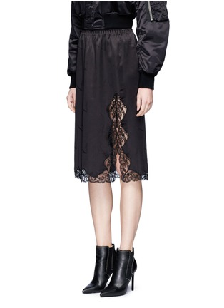 Front View - Click To Enlarge - Alexander Wang  - Lace trim cigarette jacquard silk satin skirt