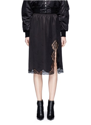 Main View - Click To Enlarge - Alexander Wang  - Lace trim cigarette jacquard silk satin skirt