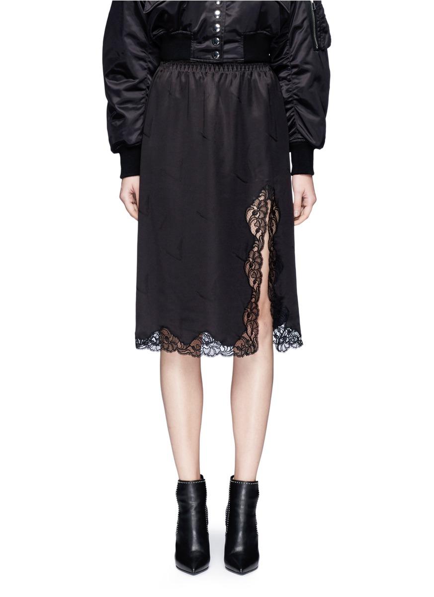Lace trim cigarette jacquard silk satin skirt by Alexander Wang