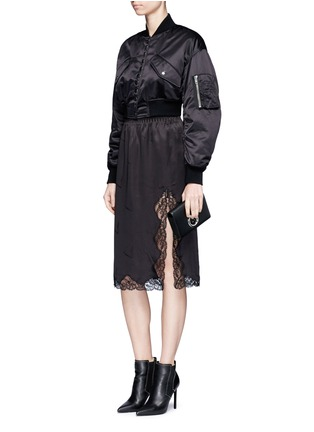 Figure View - Click To Enlarge - Alexander Wang  - Lace trim cigarette jacquard silk satin skirt