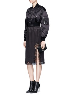 Alexander Wang  Lace trim cigarette jacquard silk satin skirt