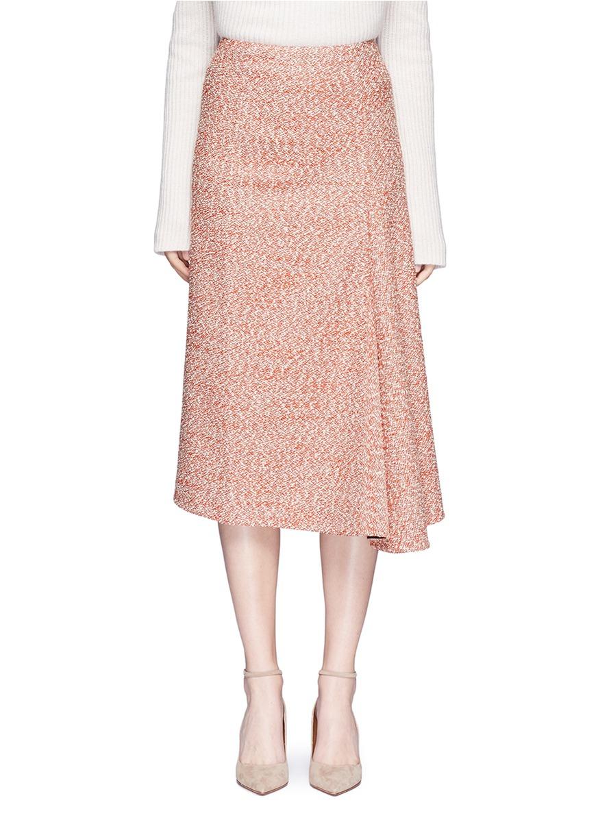 Marled bouclé draped midi skirt by Victoria Beckham