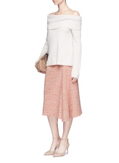 Victoria BeckhamMarled bouclé draped midi skirt