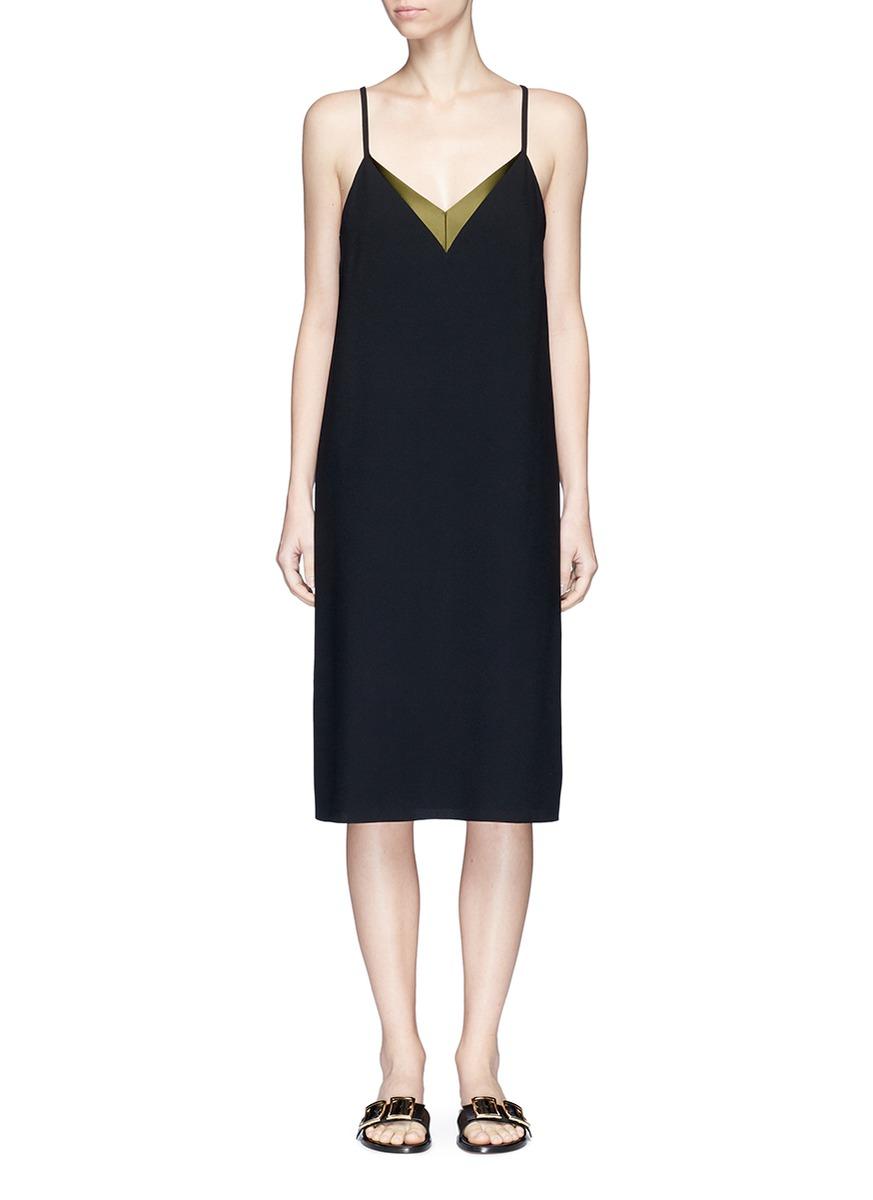 Satin trim crepe camisole dress by Lanvin