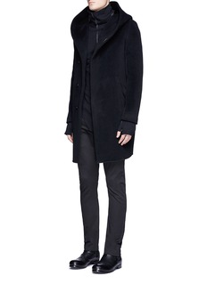 ATTACHMENT Hooded wool cashmere coat
