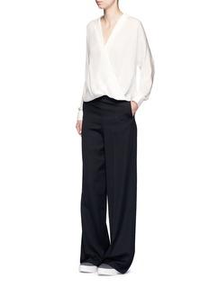 VinceDrape wrap front silk blouse